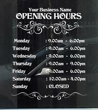 Customized Business/Opening Hours Window/Wall Decal - Frameless. Quality Vinyl.