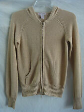 WOMENS AUTH GLIMMER LONG-SLEEVE BLING HOODED CARDIGAN SWEATER GOLD SZ M