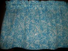 Blue Roses Flowers Floral fabric bedroom curtain topper Valance