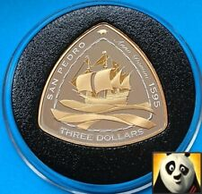 2007 BERMUDA $3 Dollars SHIPWRECK San Pedro 1595 Silver Proof & Gold Plated Coin