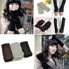 Fashion Women Girl's Knitted Wool Long Fingerless Arm Warmers Winter Gloves New