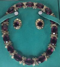 Vintage Panetta Purple Necklace And Earrings (C31)