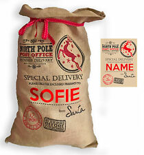 "Personalised Hessian "" North Pole Post Office "" Santa Christmas Present Sack"