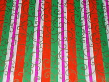 VTG CHRISTMAS WRAPPING PAPER UNUSED GIFT WRAP 1960 PINK RED GREEN RETRO FUNKY