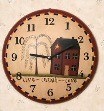 """PRIMITIVE COUNTRY WALL CLOCK """"LIVE, LAUGH, LOVE"""" With HOUSE AND WILLOW TREE"""