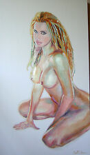 """A NUDE OF SYMBA"" 55""x32""x3"" AN ORIGINAL OIL NUDE PORTRAIT BY SARITA NANNI"