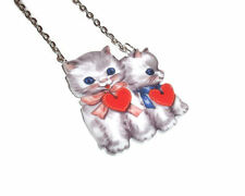 Vintage Illustration Kitten Necklace, Cute Cat, Kawaii Jewellery Love Heart Grey