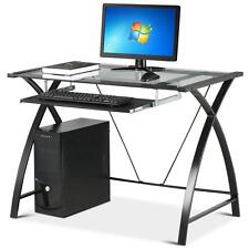 Computer Desk Glass Study Modern Table Home Office Furniture Laptop