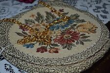 Vintage Delill Italy Purse, Tapestry, Gold Thread, Silk Interior, Chain, NWT