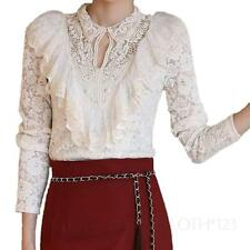 long sleeve Blouse Ruffle Indie Victorian Ladies lace shirt Boho Top size 12