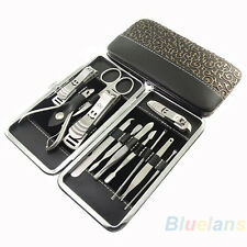 12pcs Complete Manicure Set Pedicure Nail Clippers Scissors Grooming Kit