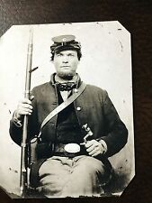 Civil War Military Soldier With Rifle & Sword TinType C203NP