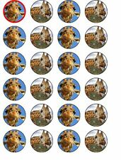 24 X FUNNY GIRAFFE MIX RICE PAPER BIRTHDAY CAKE TOPPERS