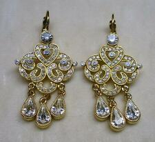 JOAN RIVERS GOLD PLATED CRYSTAL RHINESTONE PIERCED EARRING NEW IN BOX