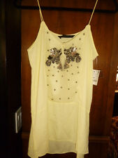 NWT S ZARA LACE TUNIC CAMI DRESS PARTY SLIP SHIFT SEQUIN TOP SUMMER YELLOW H&M 6
