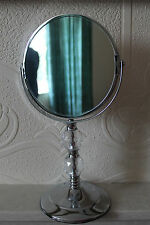 Chrome plated jewelled bathroom mirror Dual face  makeup free standing mirror