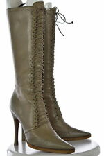 Jimmy Choo Womens Taupe Brown Boots Sz 40.5 Knee High Leather Heels Shoes