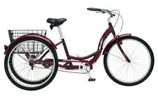 Schwinn Meridian Single Speed Adult TRICYCLE, 3 WHEELED BIKE, Black Cherry