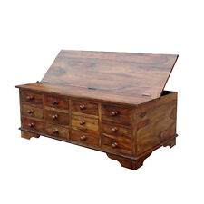 Brand New Solid Sheesham Wood Storage Chest - 12 Drawers - Coffee Table/Trunk