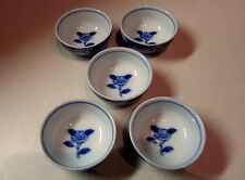 Set of 5 CHINESE TEA CUPS Blue and White Ceramic CHINA