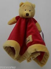 Disney Winnie the Pooh Yellow Red Security Blanket 13x13 in