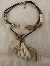Chicos Rare Double Strand Mother Of Pearl Leather Stone Acrylic Silver Necklace