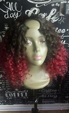 "100%hum hair u part wig 3/4 french curl  .260g  12""  #2/burgandy"