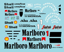 1/10 1986 F1 Mclaren MP4/2C Decal Sticker for Tamiya F103 F104W RC Car Body