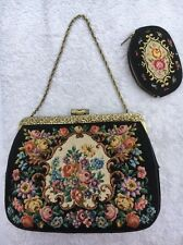 Black vintage tapestry embroidered bag gold frame & chain With Purse