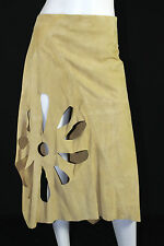 GUCCI by TOM FORD Spring 2002 Gold Suede Flower Cut-Out Wrap Skirt 40