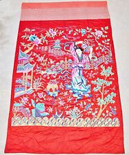 """Big Antique Chinese Red Silk Embroidery Panel w/ Lady or Immortal (133"""" x 80.5"""")"""