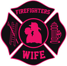 "Firefighter Stickers - Fire Wife 4"" Maltese Sticker Maltese Decal"