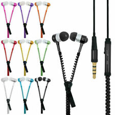 Wholesale LOT 10 x Tangle Free Zipper Headphones with Mic 3.5mm jack Microphone