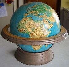 """VINTAGE GEORGE F. CRAMS 12"""" WORLD GLOBE  WITH STAND 38'' CIRCUMFERENCE"""