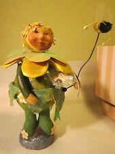"""Silvestri Larkspur Lane Cummings-Mead BUD STEMBURG Dressed as Flower w Bee 5""""T"""