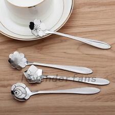 4 Set Stainless Steel Spoon Flowers Coffee Spoon Tea Spoon