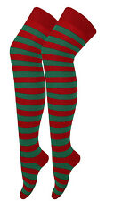Red Green Stripe Elf Over The Knee Socks Xmas Fancy Dress Stockings Christmas