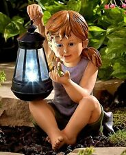 Girl Statue Holding Solar Lighted Lantern And Fairy Outdoor Lawn Garden Yard Art