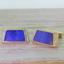 MID CENTURY LAPIS LAZULI & 2.24ct DIAMOND CUFFLINKS / CUFF LINKS -18k Gold, 1965