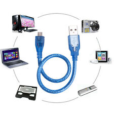 High Speed USB 2.0 A Male to B Male Micro 5 Pin Data 28/24AWG Cable 30cm Blue