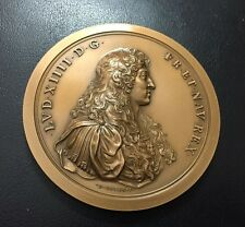 FRENCH KING LOUIS XIV PROLVSIOAD VIC. by T.BERNARD.F / LARGE BRONZE MEDAL / N120