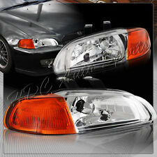 For 1992-1995 Honda Civic Hatchback Coupe Chrome Headlights W/Amber Reflector