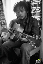 BOB MARLEY - PLAYING GUITAR POSTER - 24x36 BLACK & WHITE MUSIC 34002