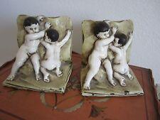 Galvano Bronze Antique bookends, Children, Ivory, 8.4 p P. Mori & Sons 1900-1940