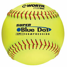 "Worth 47/525 Synthetic Blue Dot 12"" Softball Yellow - 1 DOZEN"