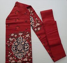Vintage authentic Japanese Nagoya obi for kimono, wine red colour (H441)