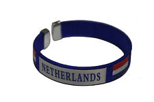 NETHERLANDS HOLLAND BLUE COUNTRY FLAG FLEXIBLE ADULT C BRACELET WRISTBAND .. NEW