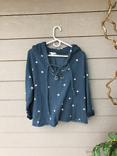 WOW~Wildfox  Football Star Hutton Sweater After Midnight Blue SZ M