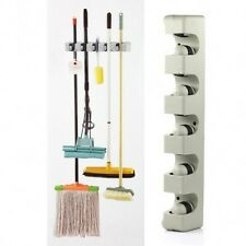 5 Position Kitchen Storage Mop Broom Organizer Holder Tool Plastic Wall Mounted