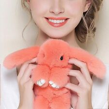 Bunny Rex Rabbit Fur Phone Car Pendant Handbag Key Chain Ring Pom 14cm Orange
